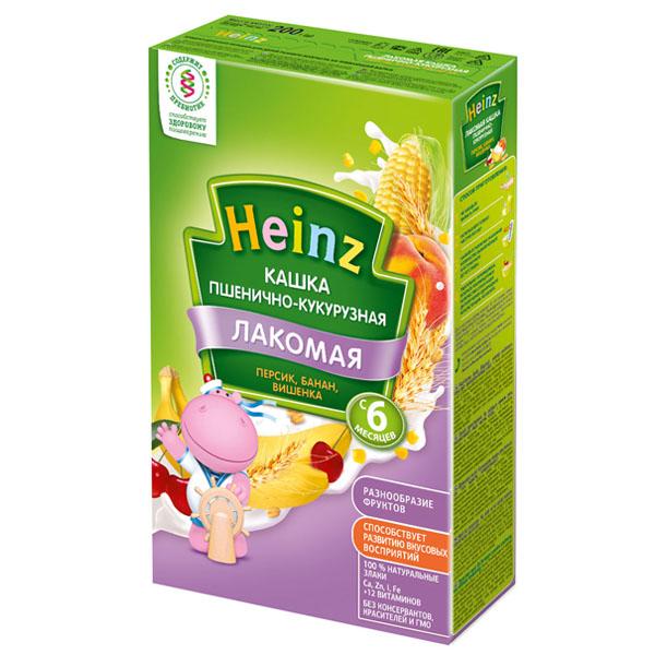 Каша Heinz Лакомая кашка молочная 200 гр Пшенично-кукурузная с персиком бананом и вишней (с 6 мес)<br>