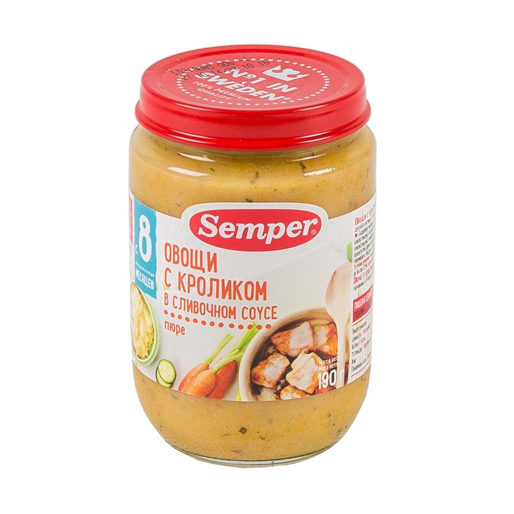 Пюре Semper обед с овощами 190 гр Кролик в сливочном соусе (с 8 мес)<br>