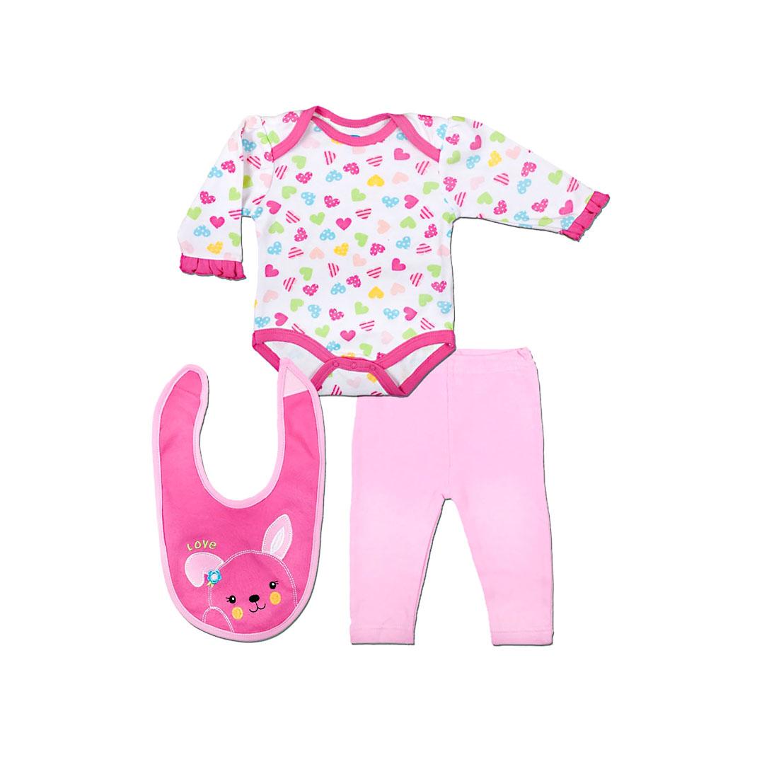 Комплект Bon Bebe Бон Бебе для девочки: боди, леггинсы, нагрудник, цвет розовый/белый 3-6 мес. (61-66 см)