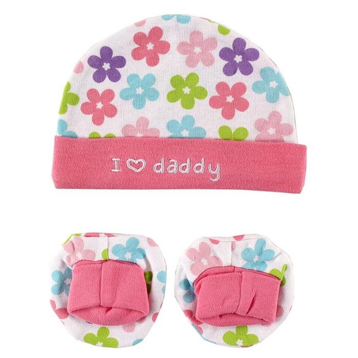 Комплект Luvable Friends Лавбл Фрэндс Шапочка и пинетки, цвет розовый Люблю Папу 0-6 мес. (55-67 см)