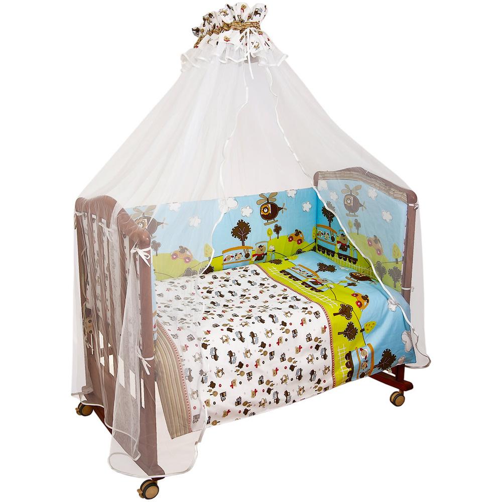 Комплект в кроватку Сонный гномик Каникулы 7 предметов Голубой<br>