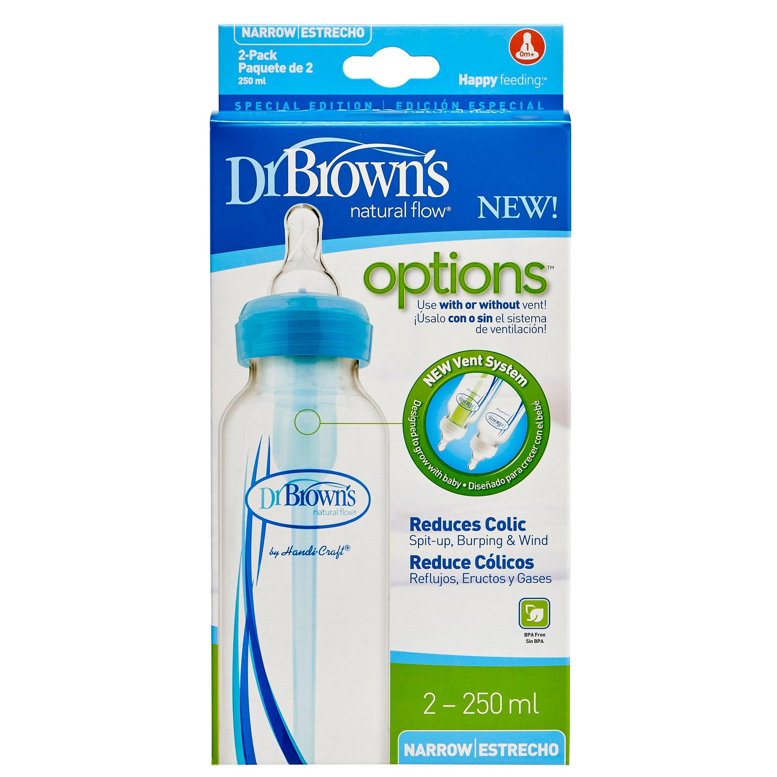 Бутылочка Dr. Brown&amp;#039;s Options стандартная Синяя 250 мл (2 шт)<br>