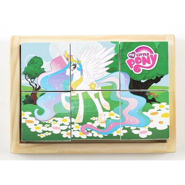 Деревянные кубики Играем вместе My Little Pony (6 кубиков)<br>