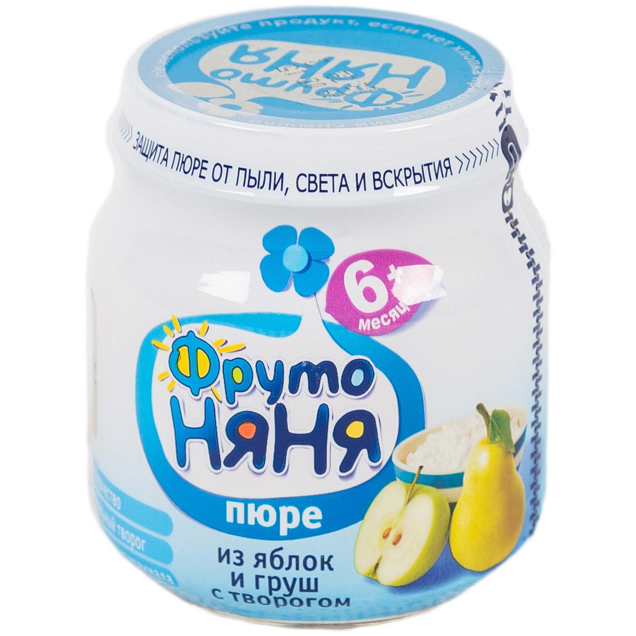 Пюре Фрутоняня фруктовое с творогом 100 гр Яблоко с грушей (с 5 мес)<br>