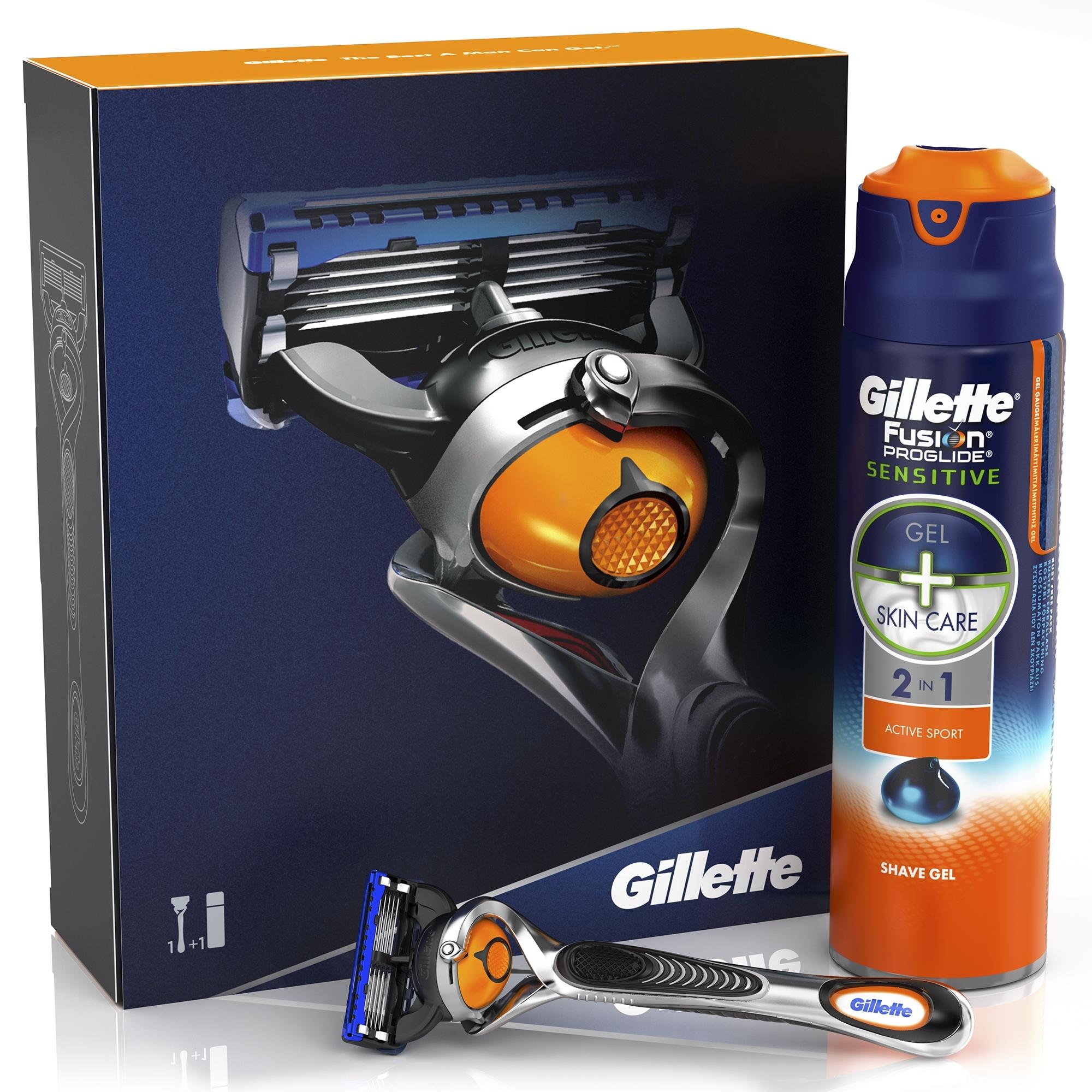 Подарочный набор Gillette Fusion ProGlide Flexball Бритва с 1 кассетой + гель для бритья Active Sport 170 мл<br>