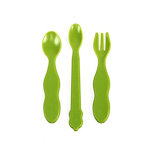 Набор UINLUI для кормления Чайная ложка,столовая ложка и вилка (зеленый)<br>