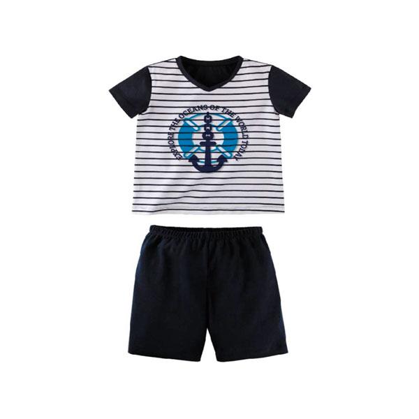 Комплект для мальчика Наша Мама (футболка, шорты) рост 98 синий с белым<br>