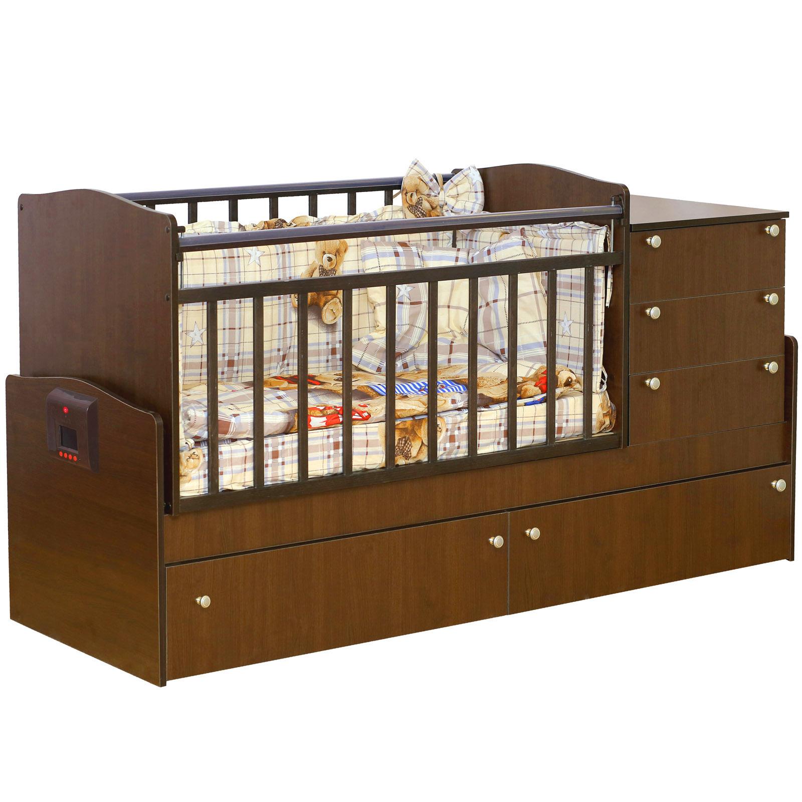 Кроватка-трансформер Daka Baby Укачай-ка 05 с механизмом Орех<br>