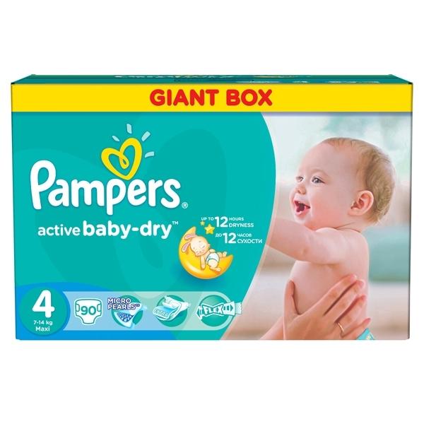 Подгузники Pampers Active Baby Maxi 7-14 кг (90 шт) Размер 4<br>