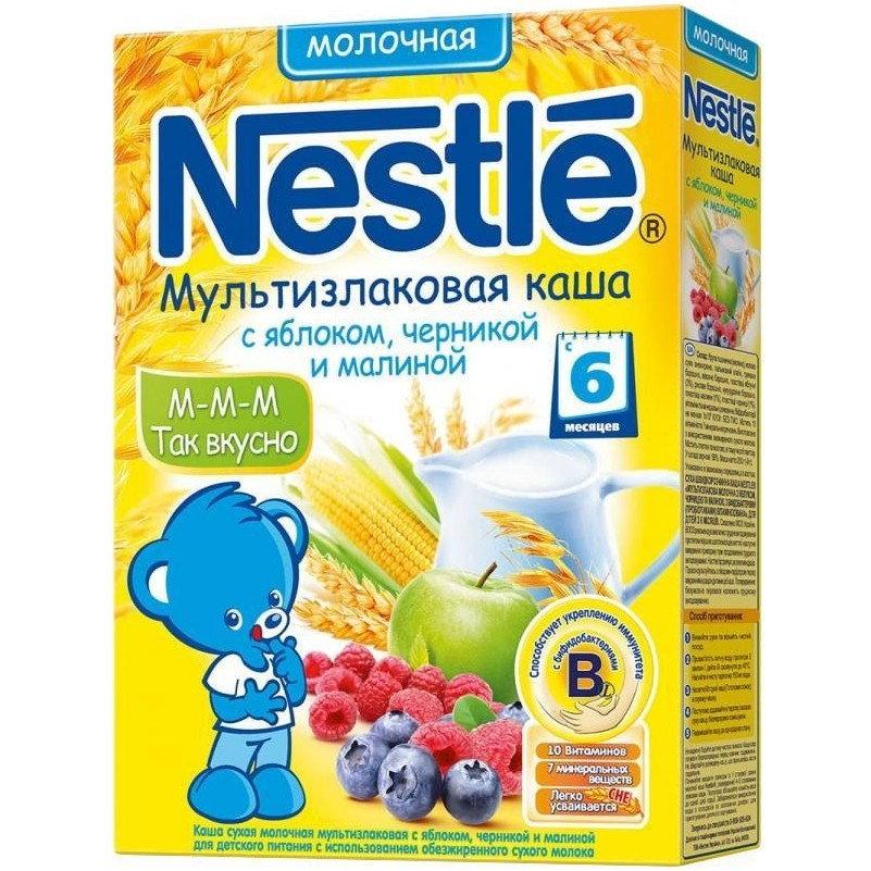 Каша Nestle молочная 250 гр Мультизлаковая с яблоком черникой и малиной (с 6 мес)