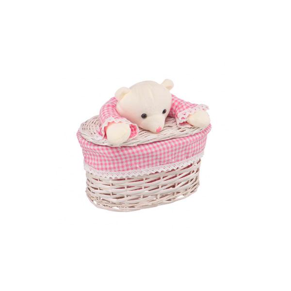 Корзина бельевая Natural Hause Медвежонок Розовый XS<br>