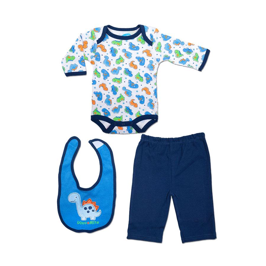 """Комплект Bon Bebe Бон Бебе """"Дино"""" для мальчика: боди, штанишки, нагрудник, цвет синий 0-3 мес. (45-61 см)"""