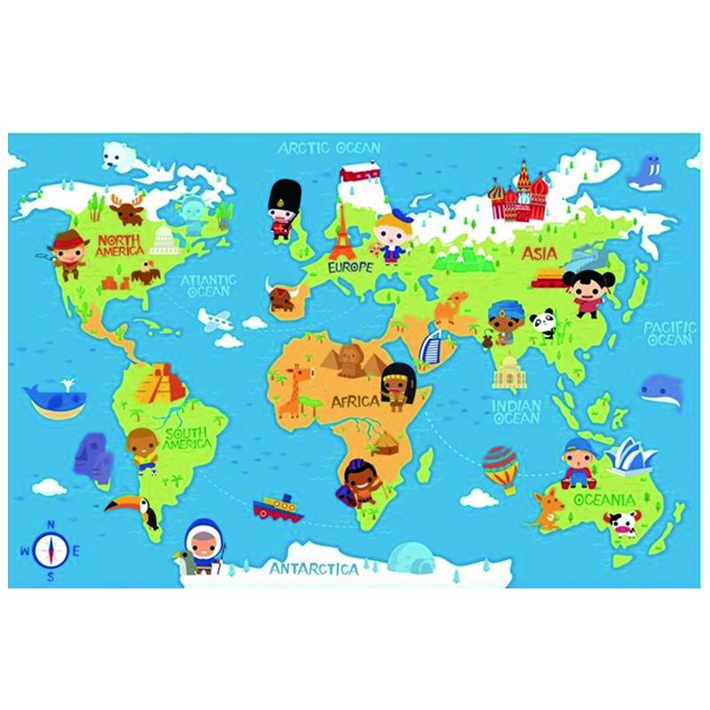 Детский развивающий коврик-пазл Mambobaby Карта мира 180х120х2<br>