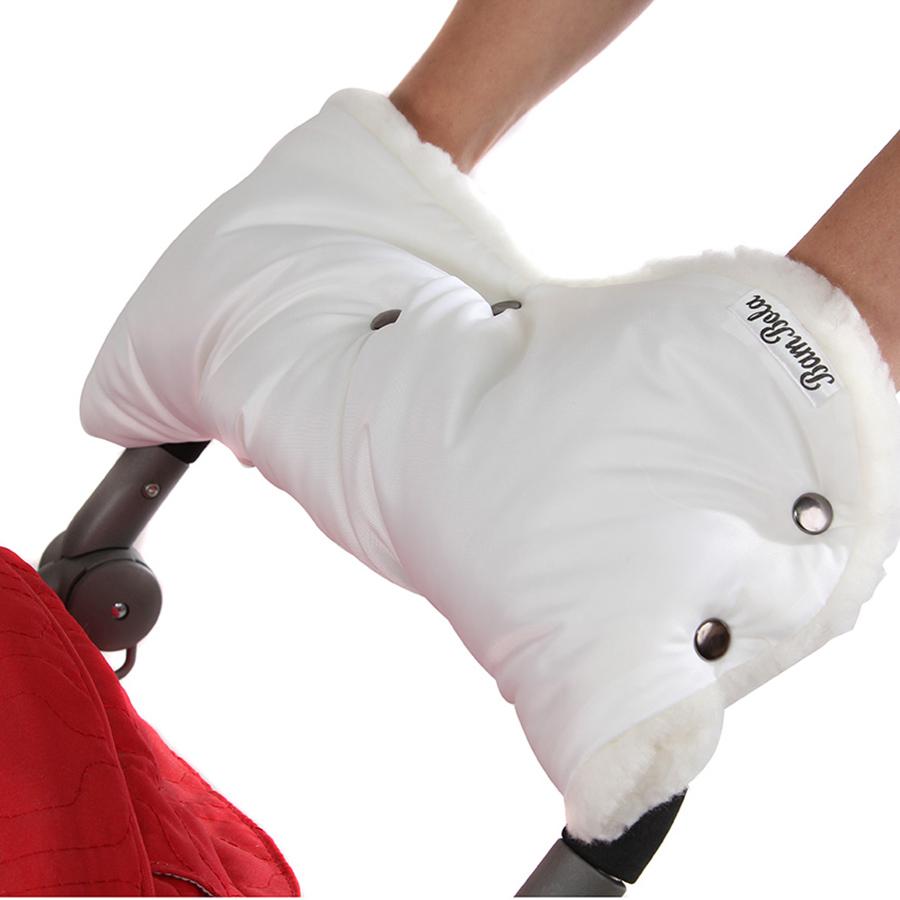 Муфта Bambola для коляски шерстяной мех плащевка кнопки Лайт Белый<br>