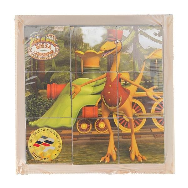 Деревянные кубики Играем вместе Поезд Динозавров (9 кубиков)<br>
