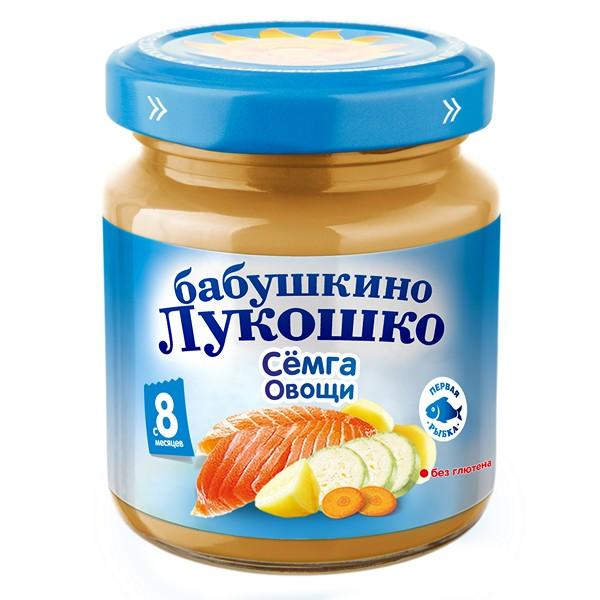 Пюре Бабушкино лукошко рагу 100 гр Семга с овощами (с 8 мес)<br>