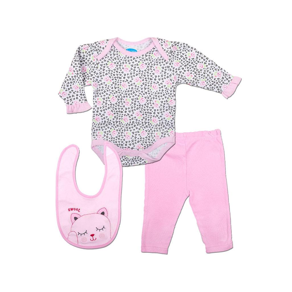 Комплект Bon Bebe Бон Бебе для девочки: боди, леггинсы, нагрудник, цвет серый/светло-розовый 3-6 мес. (61-66 см)