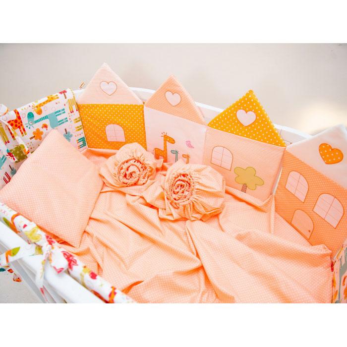 Комплект постельного белья Valle Grace для овальной кроватки 8 предметов Оранжевый<br>
