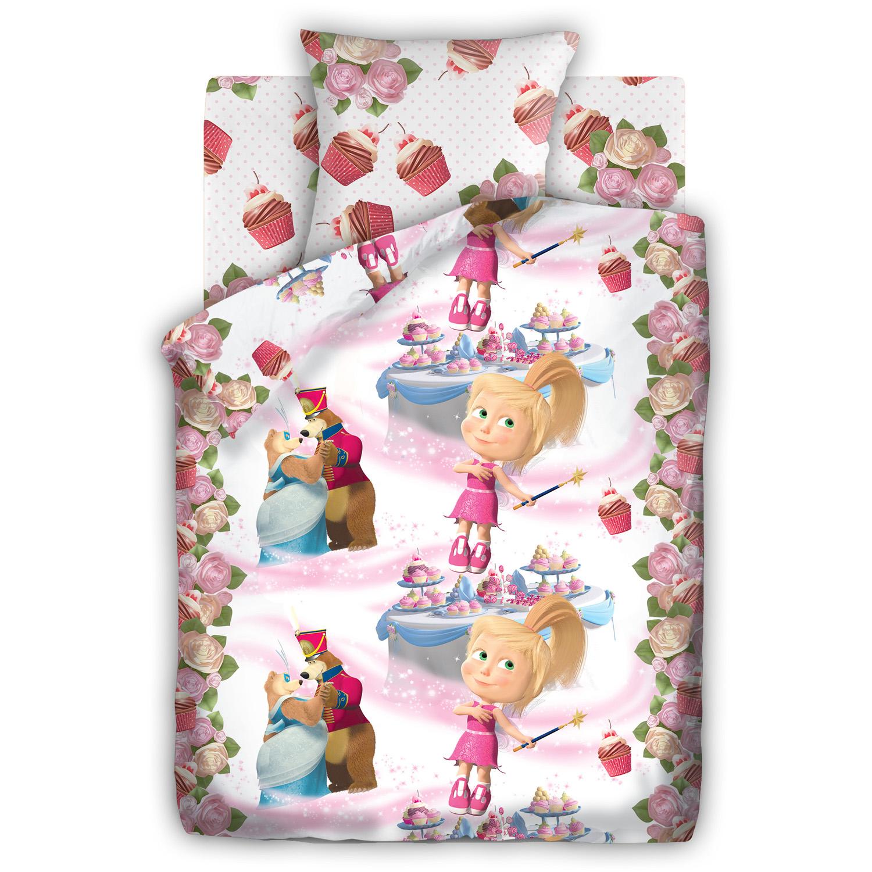 Комплект постельного белья детский 1.5 бязь Непоседа Маша и Медведь Праздник<br>