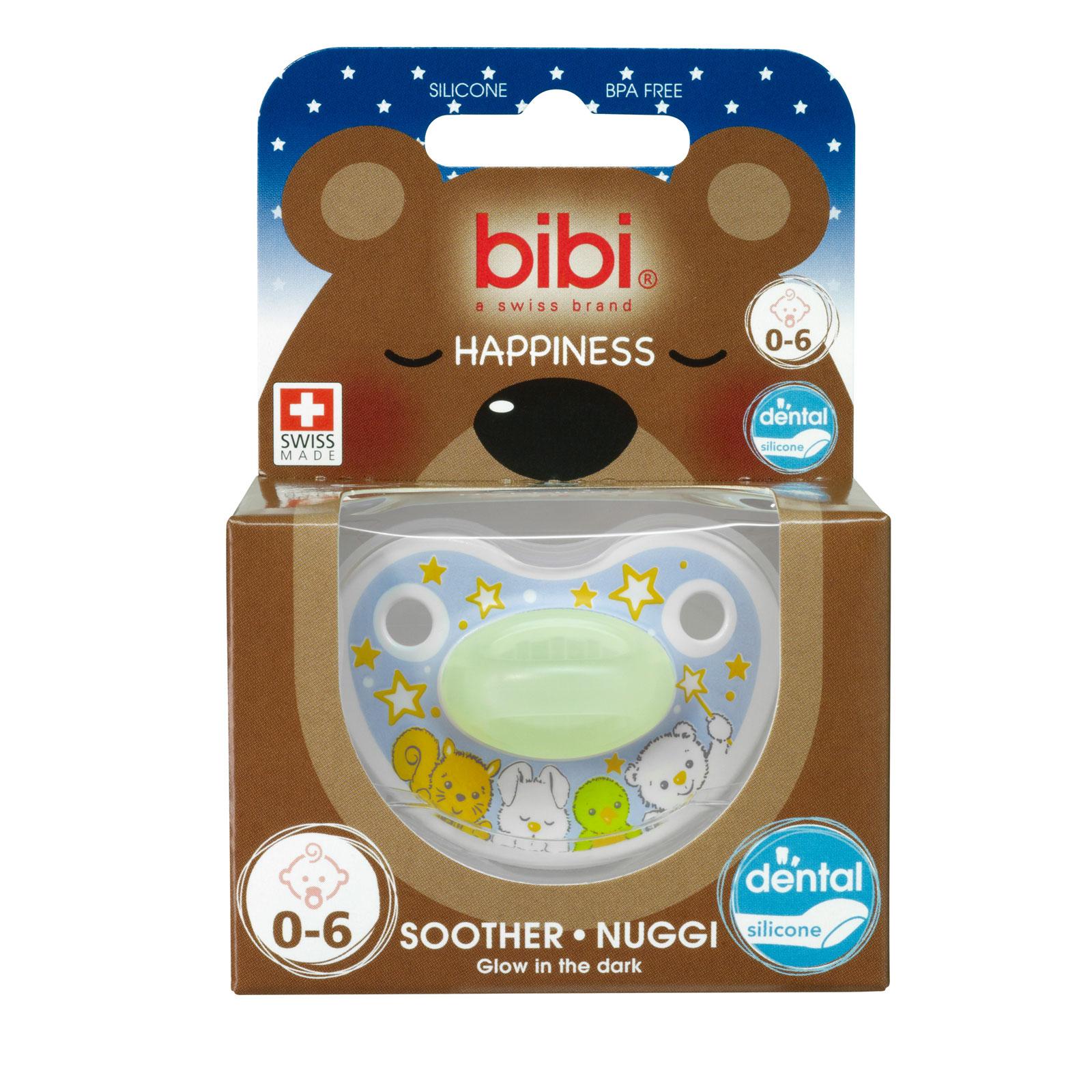 Пустышка Bibi Premium Dental Happiness Glow in the Dark светящаяся (с 0 мес)<br>