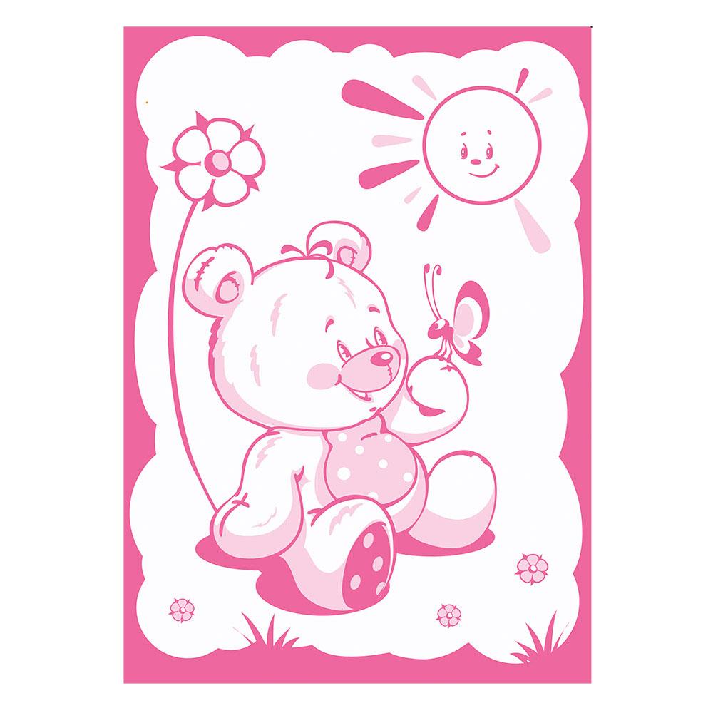 Одеяло Baby Nice шерстяное 100х140 в коробке Мишка на лужайке (розовый)<br>