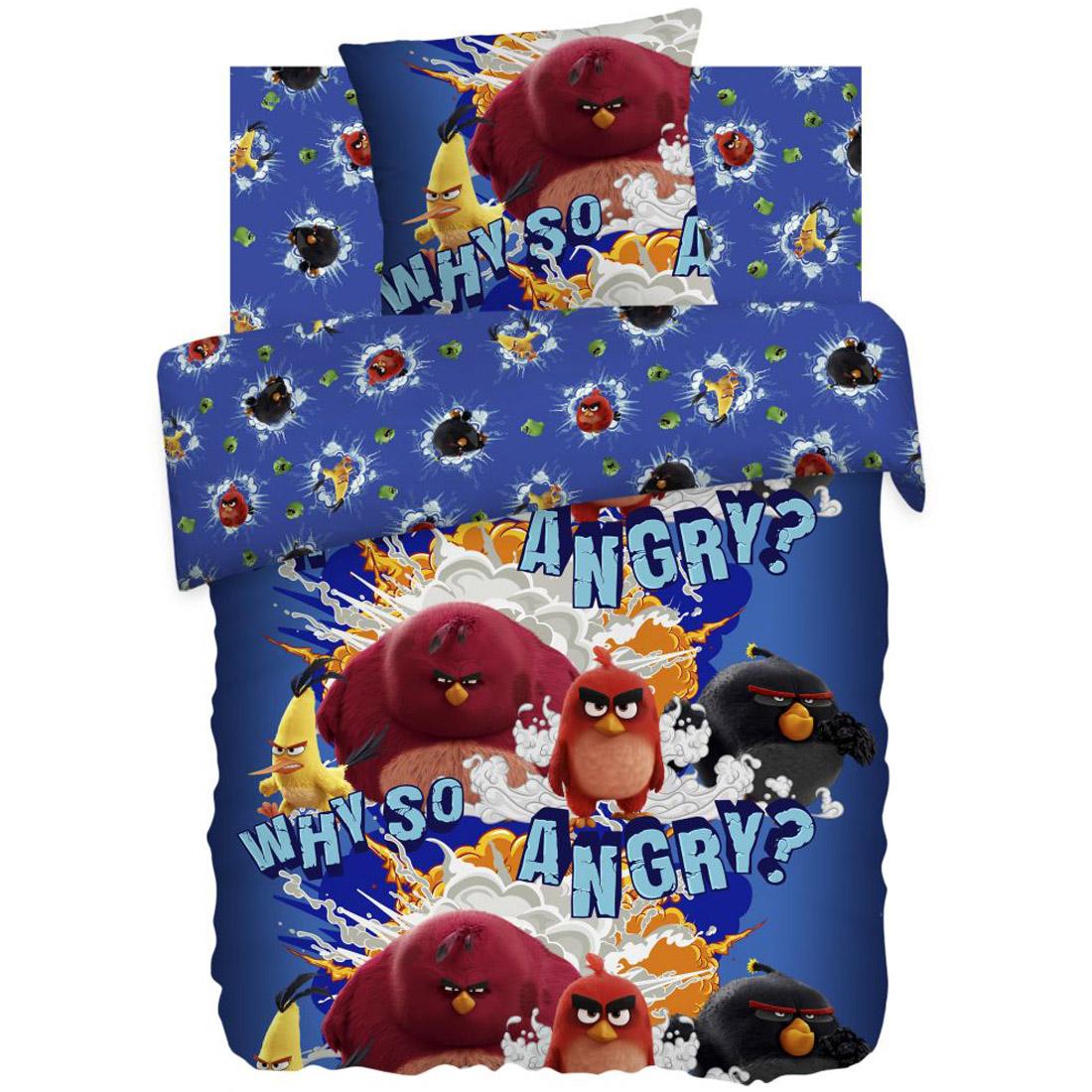 Комплект постельного белья детский 1,5 бязь Непоседа Angry Birds с наволочкой 70х70 Злые Птички<br>