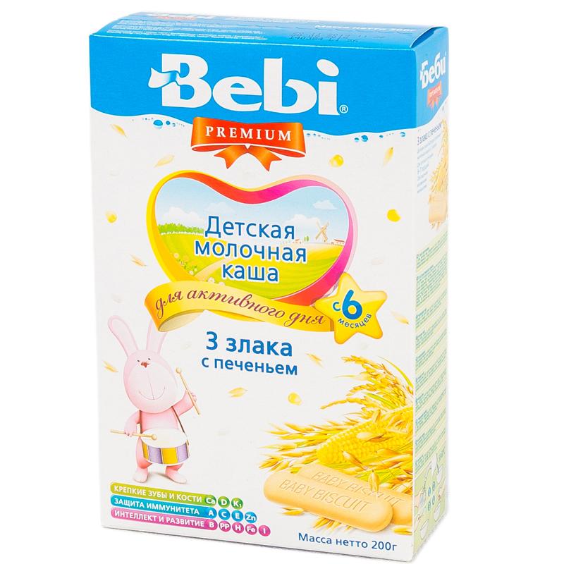 Каша Bebi Premium молочная 200 гр 3 злака с печеньем (с 6 мес)<br>