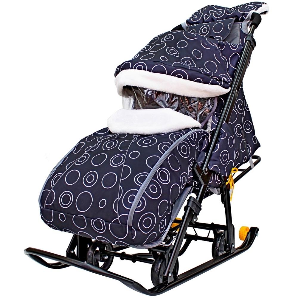 Санки-коляска SNOW GALAXY LUXE на больших мягких колесах сумка муфта Круги на черном<br>