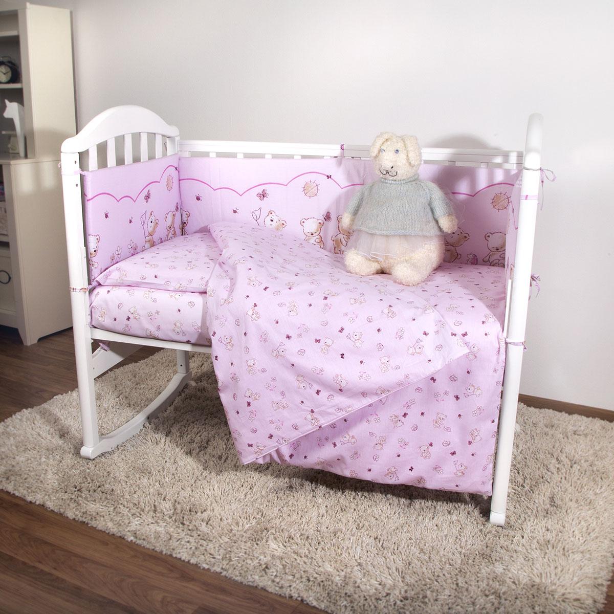 Борт в кроватку Споки Ноки Мишки Розовый<br>
