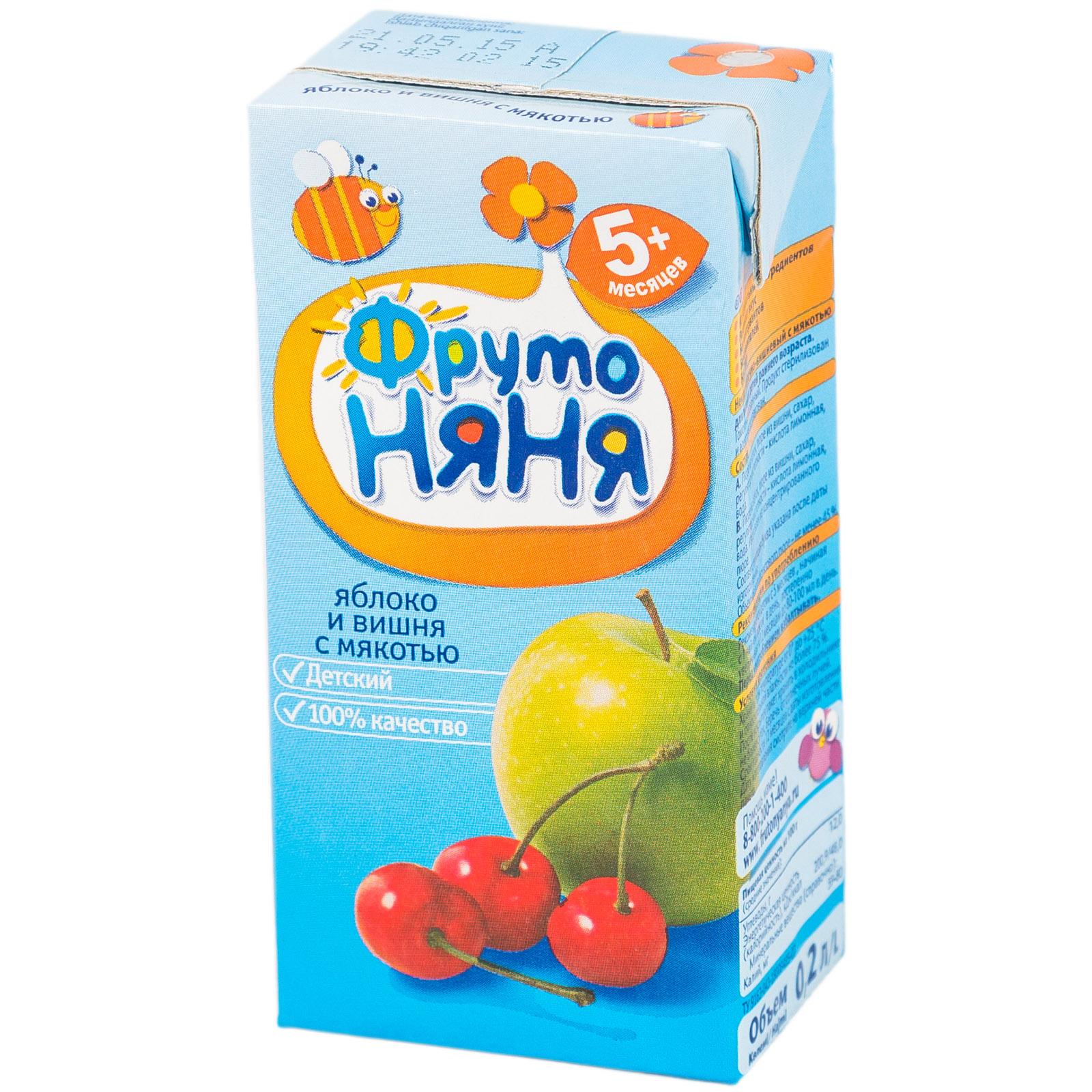 Сок Фрутоняня 200 мл Яблочно-вишневый с мякотью (с 5 мес)