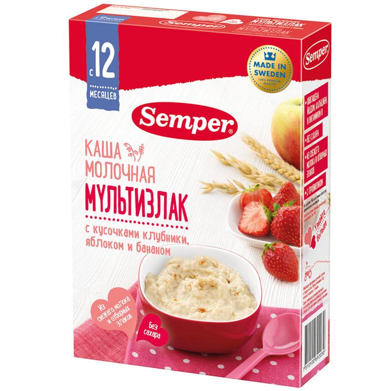 Каша Semper молочная 200 гр Мультизлаковая с кусочками клубники яблоком и бананом (с 12 мес)<br>