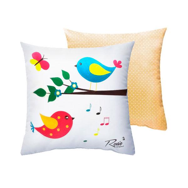Подушка Roxie Птички с наволочкой на молнии Бежевый горох<br>