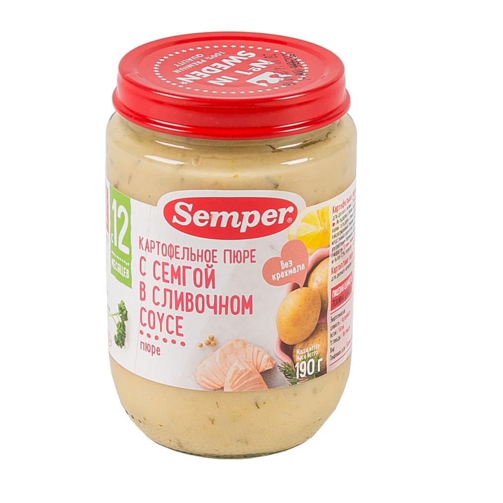Пюре Semper рыбное с овощами 190 гр Семга с картофелем в сливочном соусе (с 12 мес)<br>