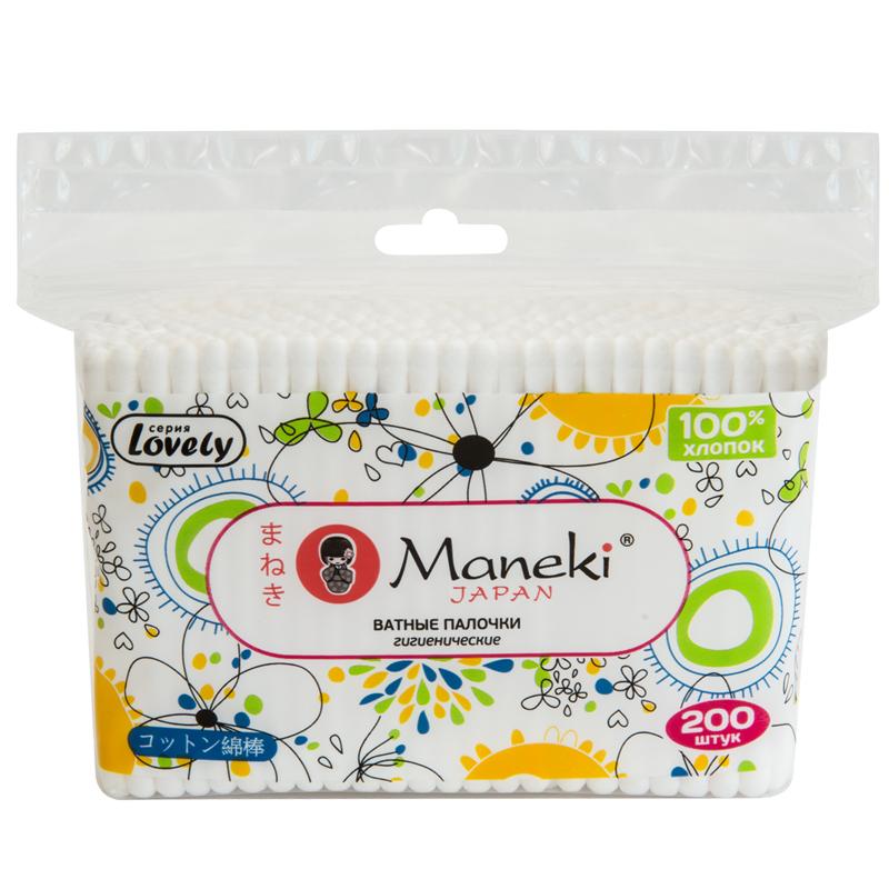 Ватные палочки Maneki Lovely (в zip-пакете) белые 200 шт<br>