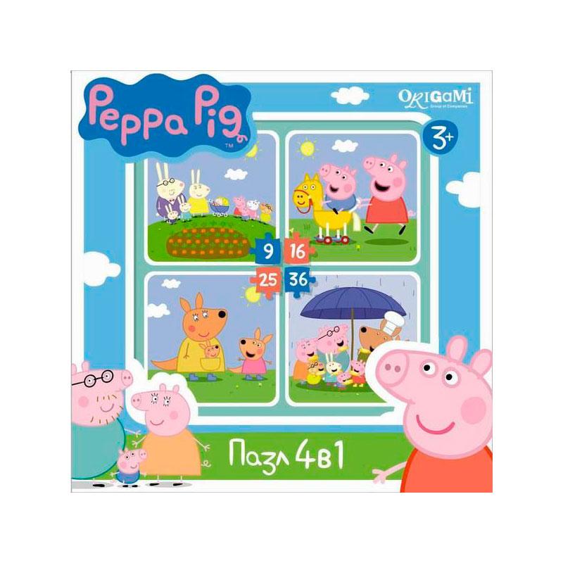 Пазл Origami Peppa Pig 4в1 На отдыхе<br>