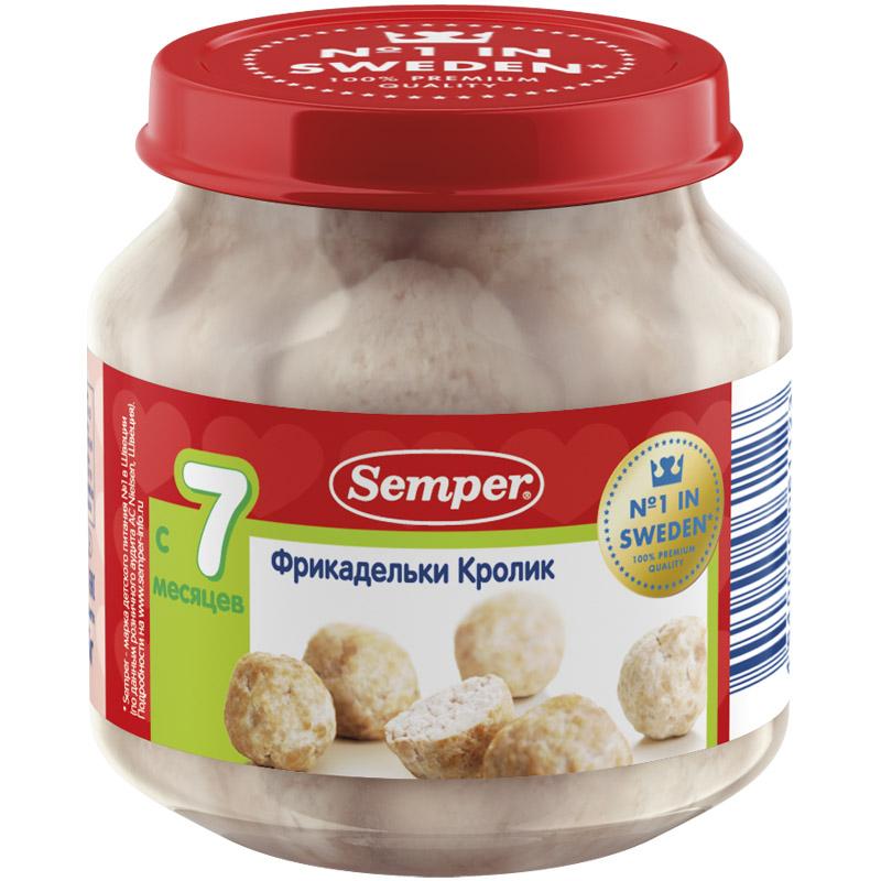 Пюре Semper фрикадельки в бульоне 125 гр Из кролика (с 7 мес)<br>