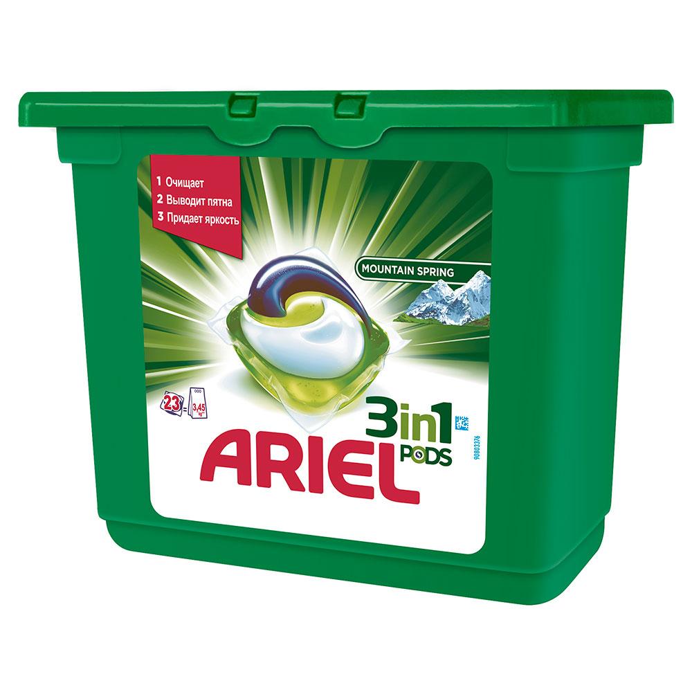 Капсулы для стирки Ariel 3 в 1 PODS Горный родник 23 X 28,8г<br>