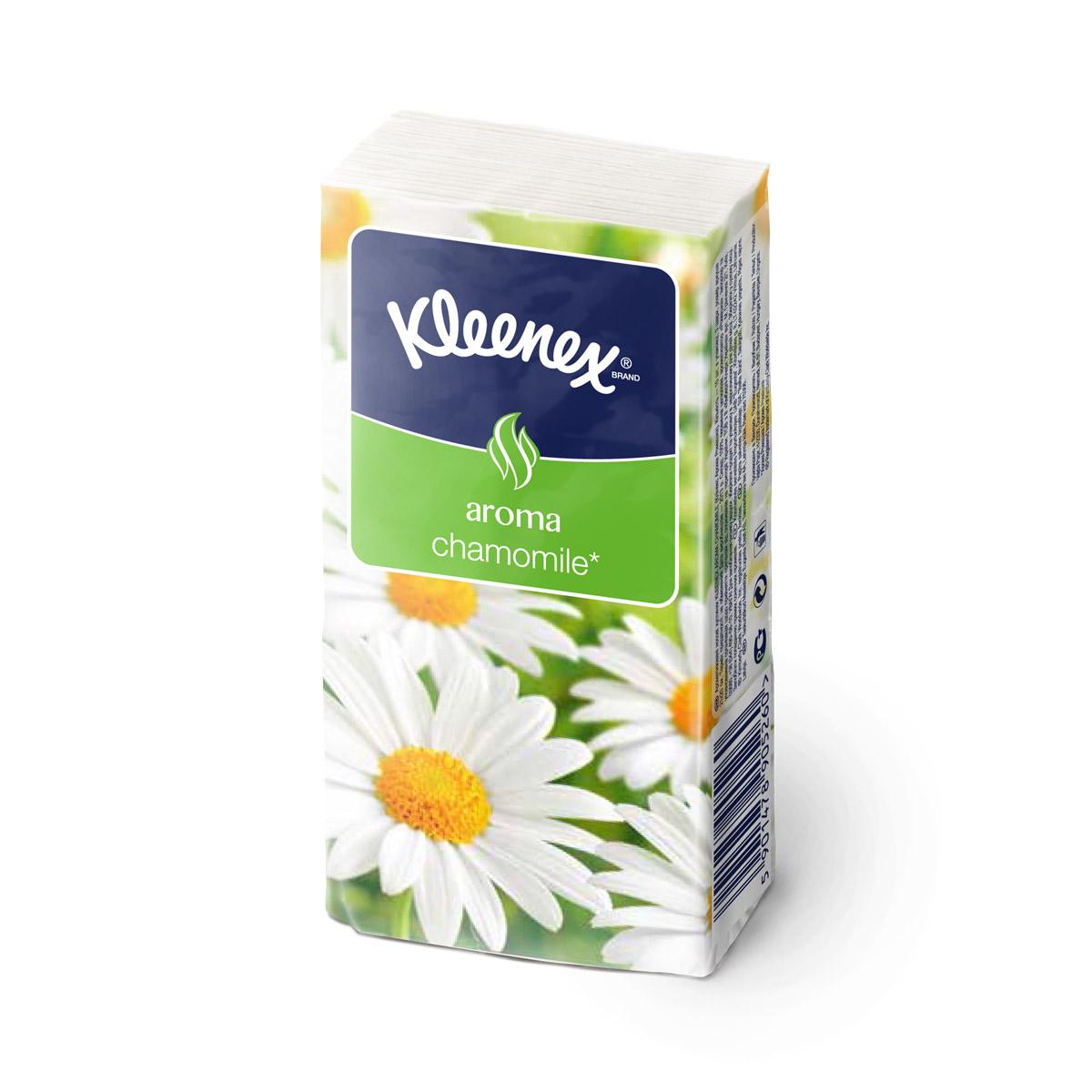 Платочки Kleenex с ароматом ромашки 3-х слойные (10 платочков) 1 шт<br>