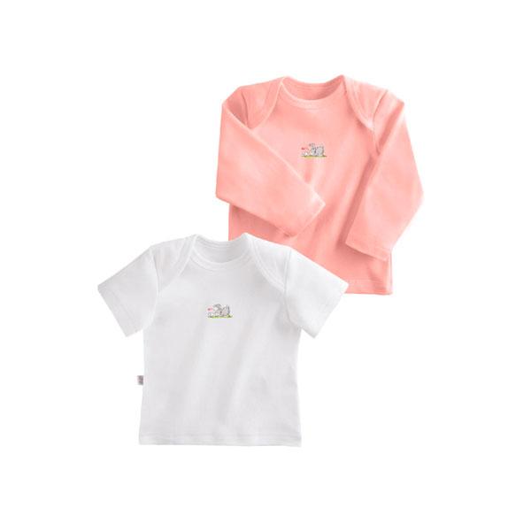 Комплект Наша Мама Be happy футболки (2 шт) рост 68 белый, розовый<br>