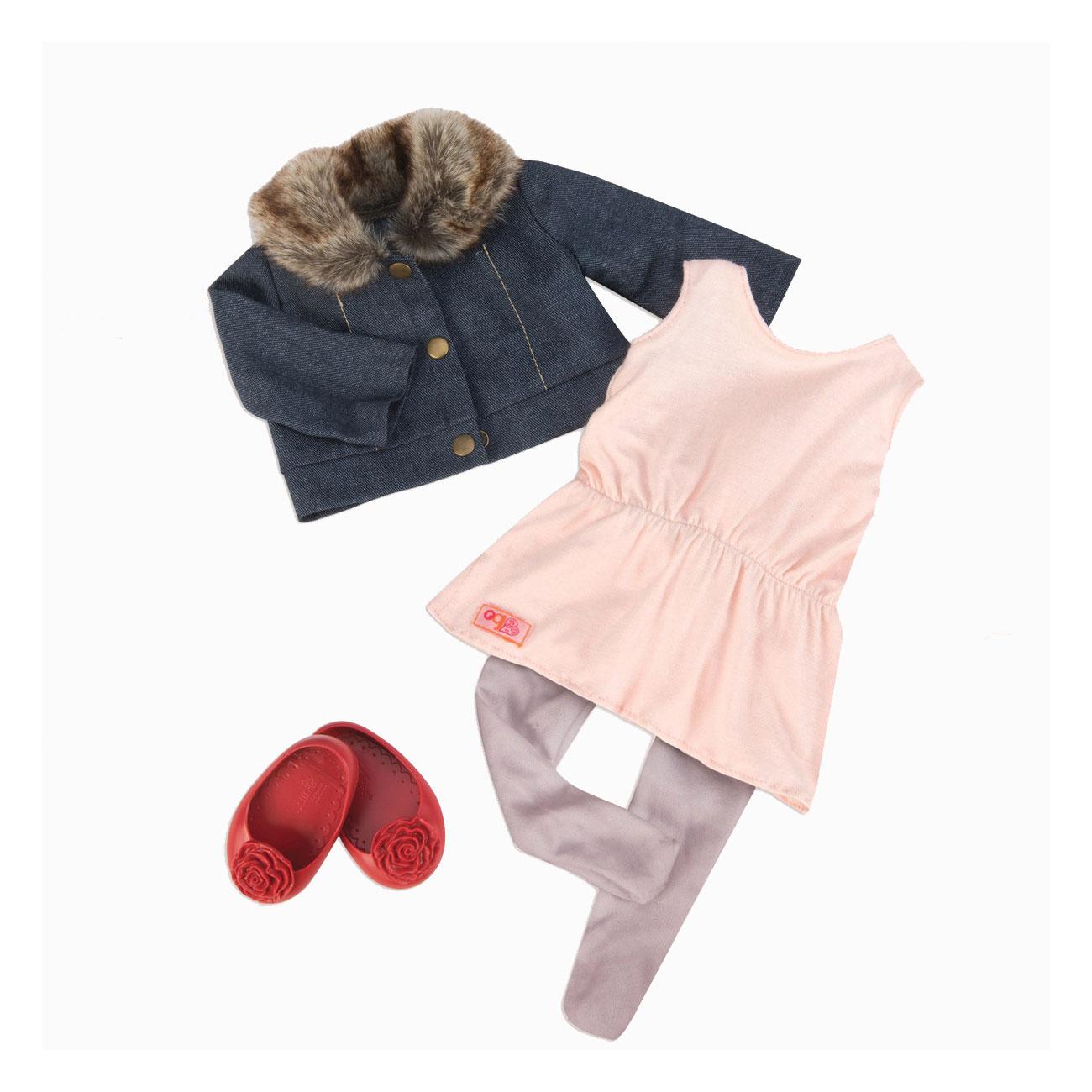Одежда Our Generation для куклы 46 см Джинсовая куртка с меховым воротничком туника легинсы балетки<br>