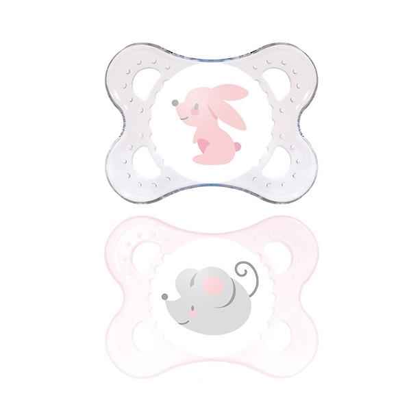 Пустышка MAM Original Латексная 2 шт (0-6 мес) прозрачная и розовая (зайка, мышонок)<br>