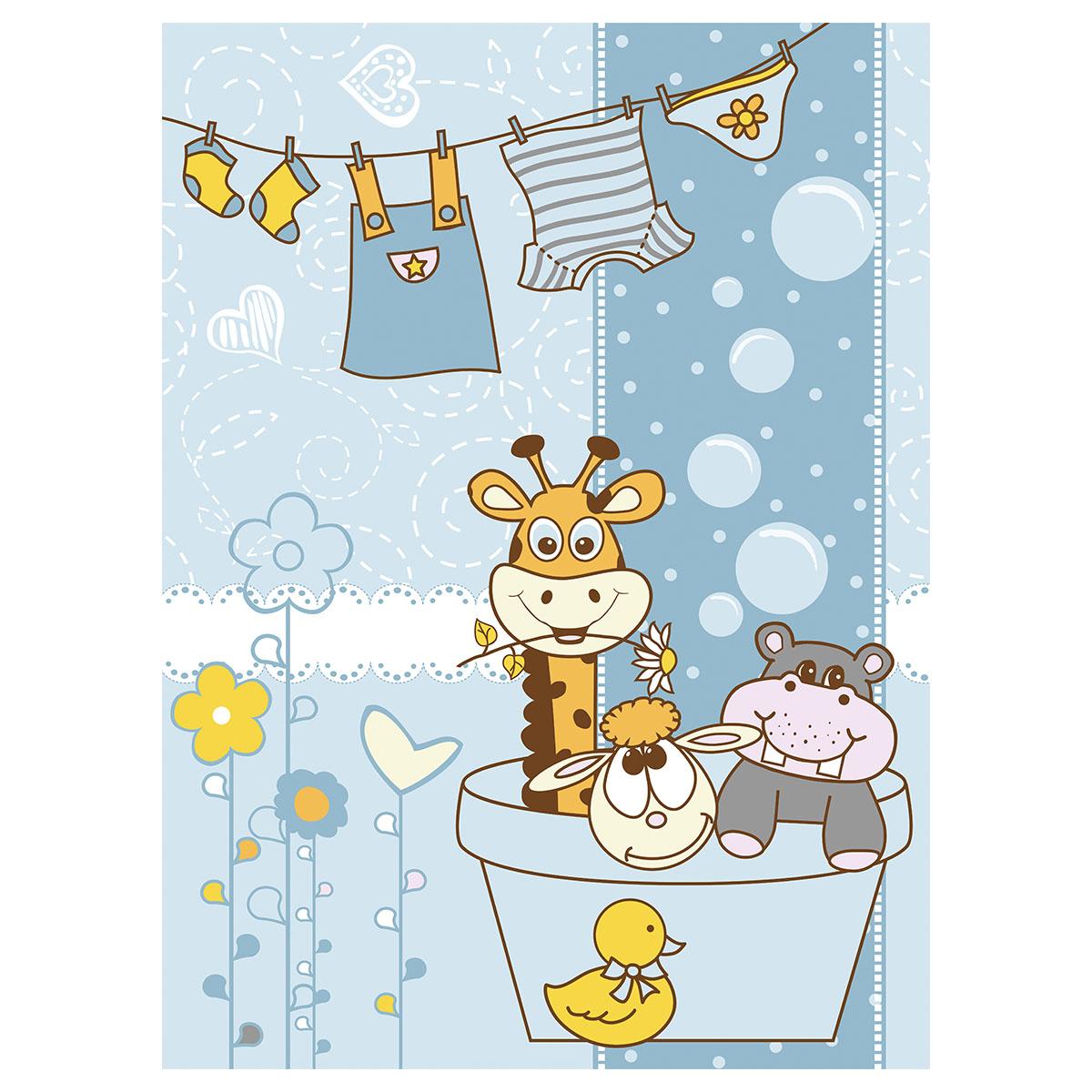 Одеяло Baby Nice байковое 100% хлопок 85х115 Купание Голубой<br>