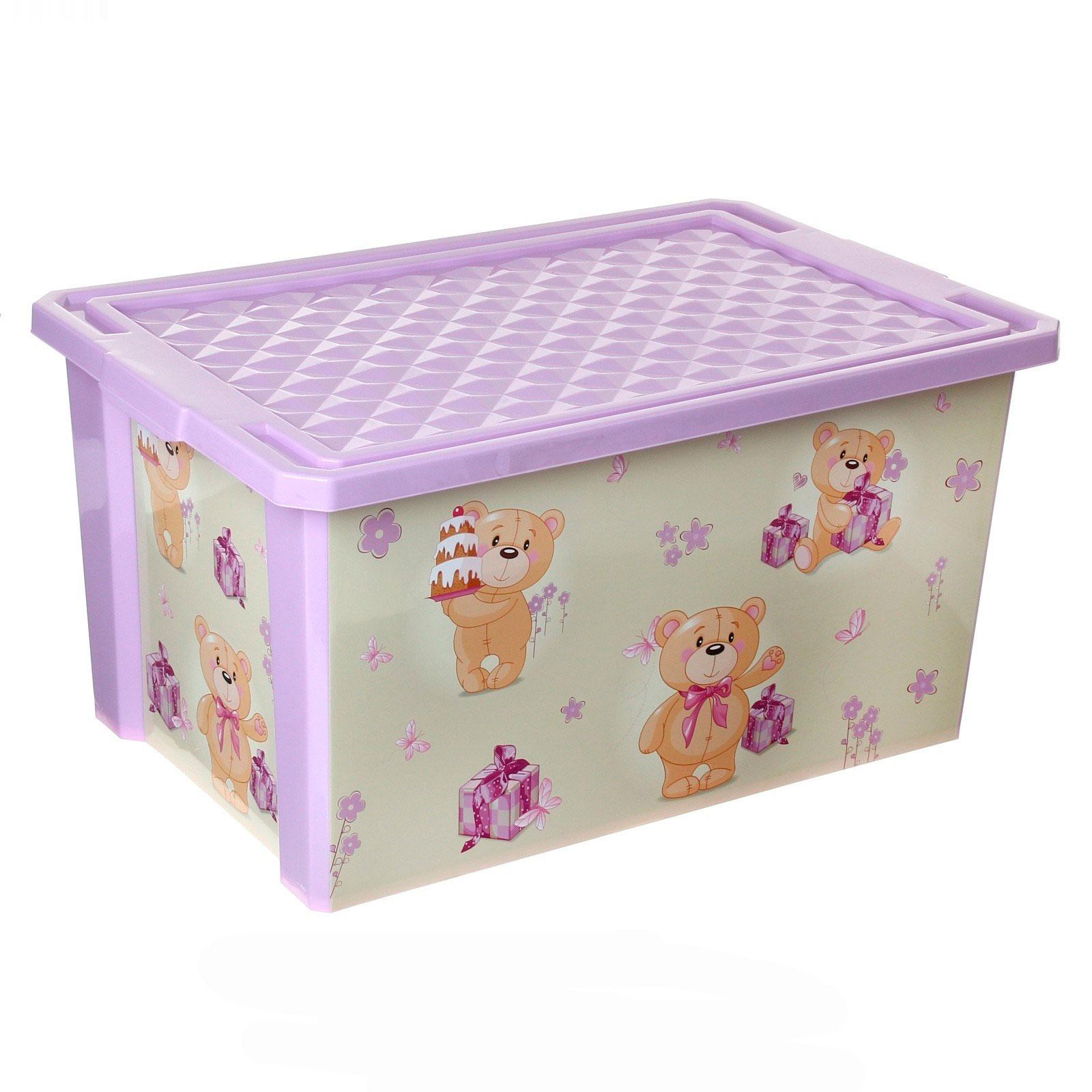 Ящик для хранения игрушек Little Angel X-Box Bears 57л на колесах Бежевый с розовым<br>
