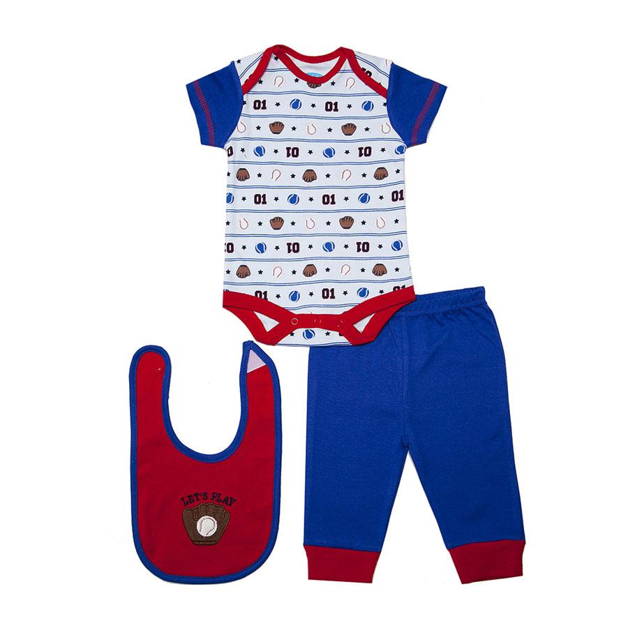 Комплект Bon Bebe Бон Бебе для мальчика: боди короткий,штанишки,нагрудник, цвет красный 6-9 мес. (67-72 см)