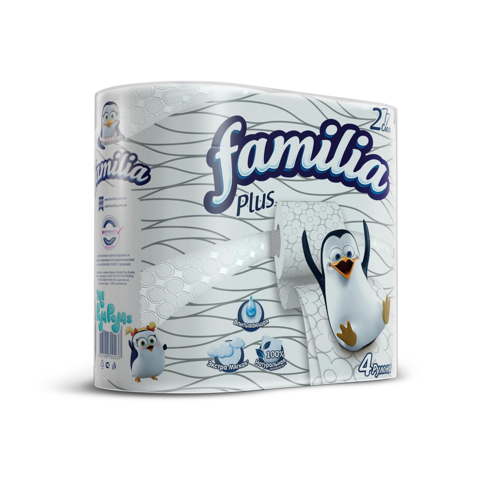 Туалетная бумага Familia Plus белая (2 слоя) 4 шт