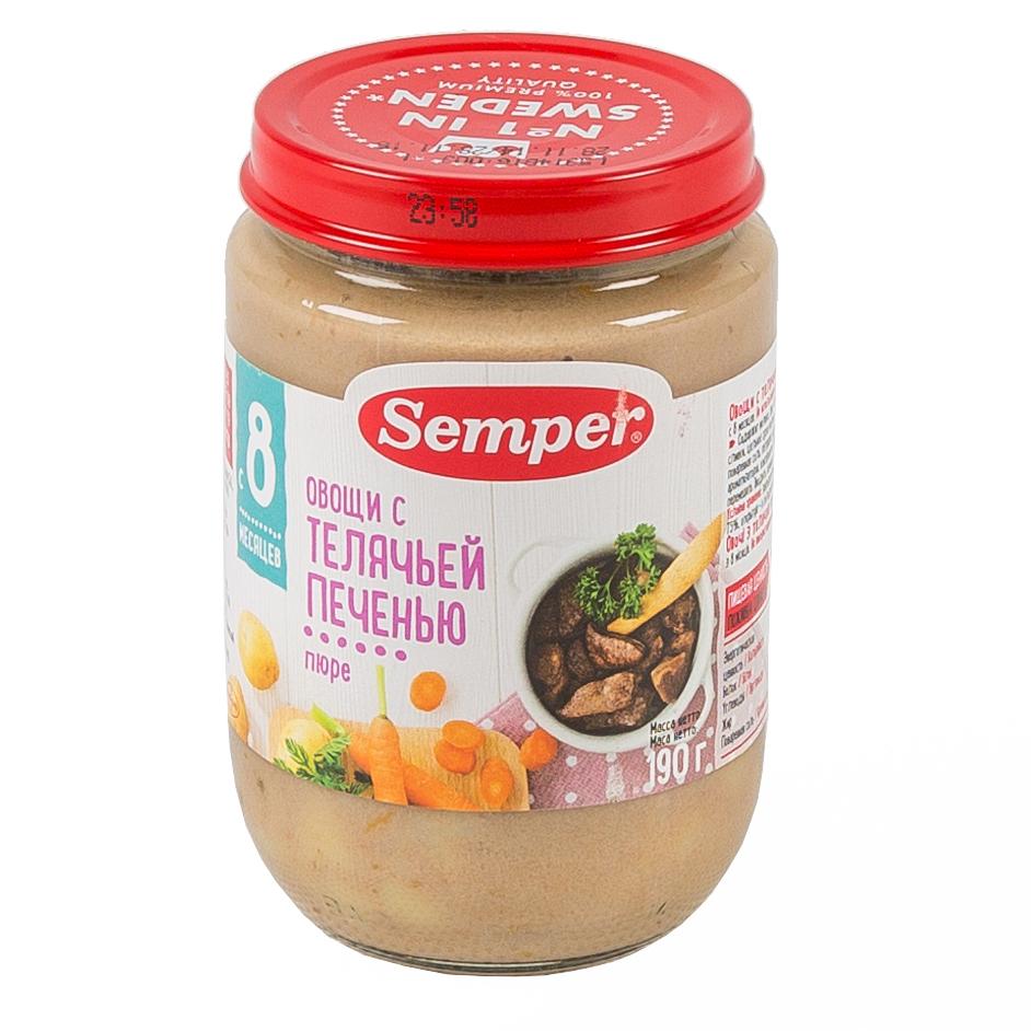 Пюре Semper обед с овощами 190 гр Телятина с печенью (с 8 мес)<br>