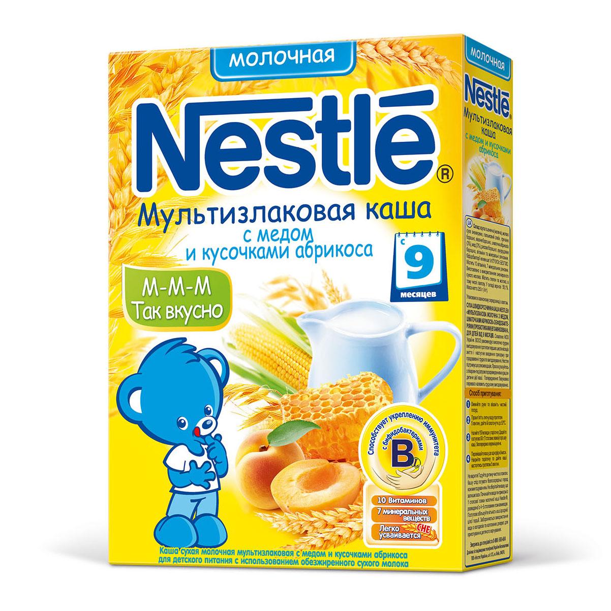 Каша Nestle молочная 250 гр Мультизлаковая с медом и кусочками абрикоса (с 9 мес)<br>