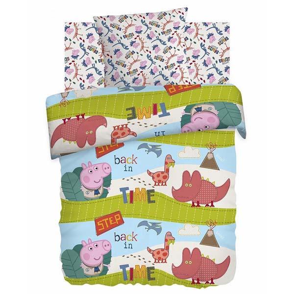 Комплект постельно белья 1,5 хлопок Свинка Пеппа Диноэра 8777+8778 вид 1 наволочка 70х70<br>