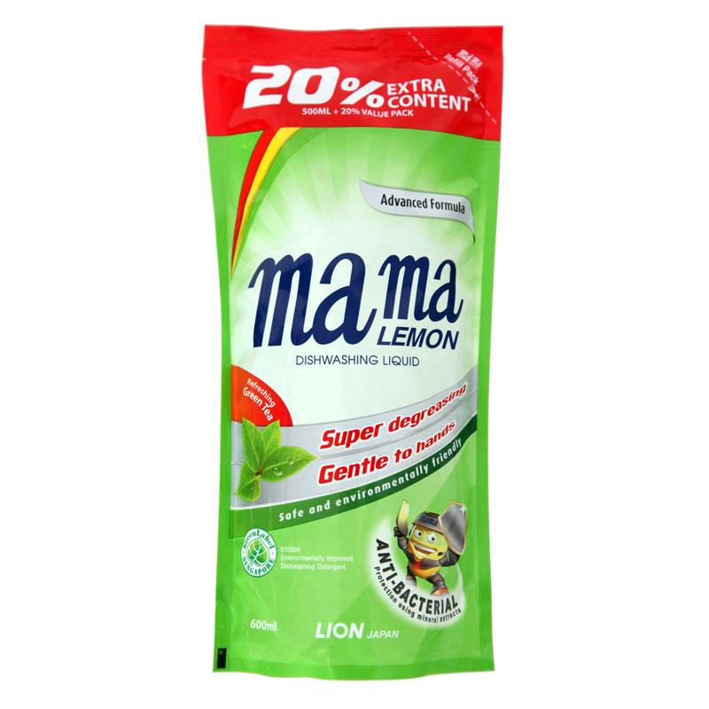 Средство для мытья посуды Lion Mama Lemon Зеленый чай  600 мл запасной блок<br>