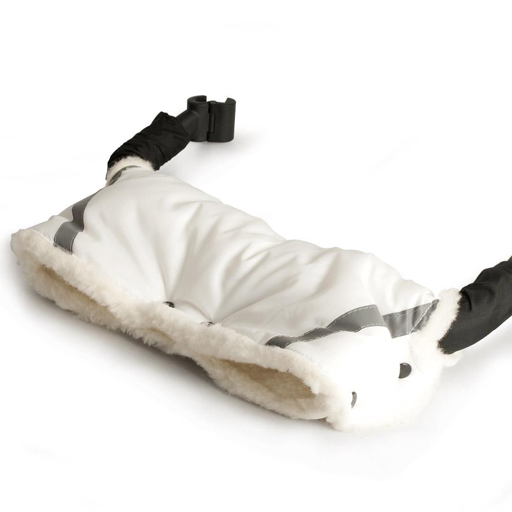 Муфта для коляски Снежинка защита рук от холода 100% шерсть Белая на кнопках<br>